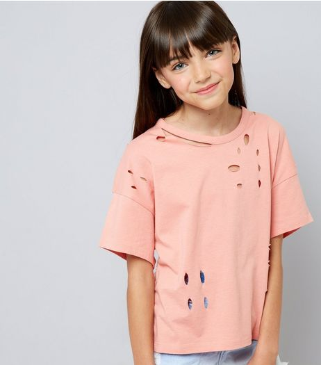 Teens Coral Ripped T-Shirt | New Look
