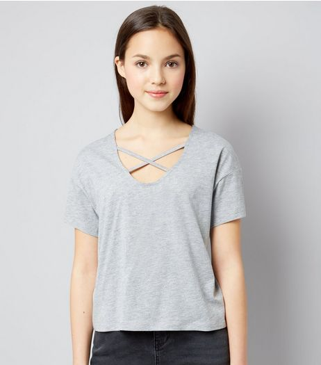 Teens Grey Cross Strap Front T-Shirt | New Look