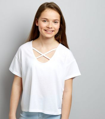 Teens White Cross Strap Front T-Shirt