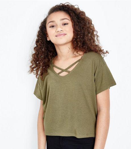 Teens Khaki Cross Strap Front T-Shirt | New Look