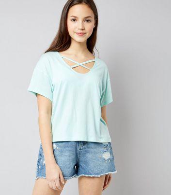 Teens Mint Green Cross Strap Front T-Shirt