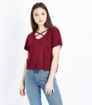 Teens Burgundy Cross Strap Front T-Shirt