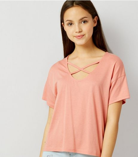 Teens Orange Cross Strap Front T-Shirt | New Look
