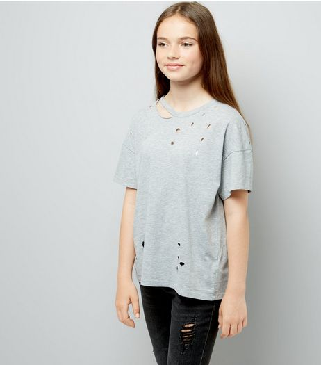 Teens Grey Ripped Oversized T-Shirt | New Look