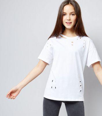 Teens White Ripped Oversized T-Shirt