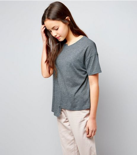 Teens Grey Asymmetric Spliced T-Shirt | New Look