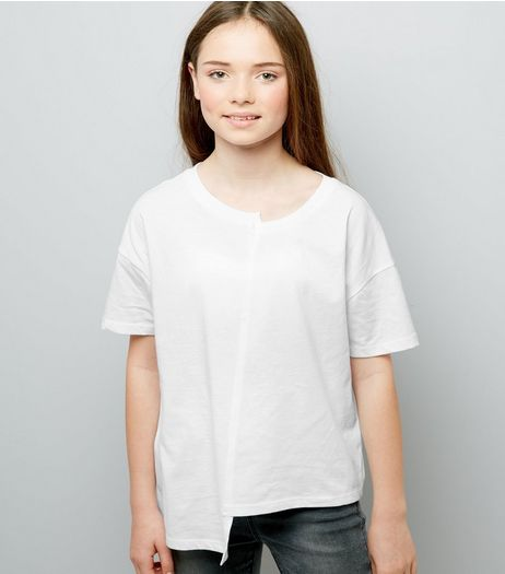 Teens White Asymmetric Spliced T-Shirt | New Look