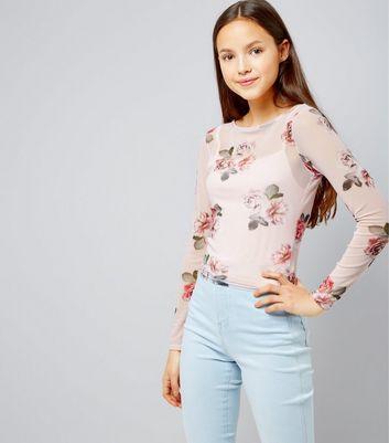 Teens Print Rose Print Long Sleeve Mesh Top