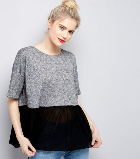 Tall Grey Mesh Peplum Hem Top | New Look