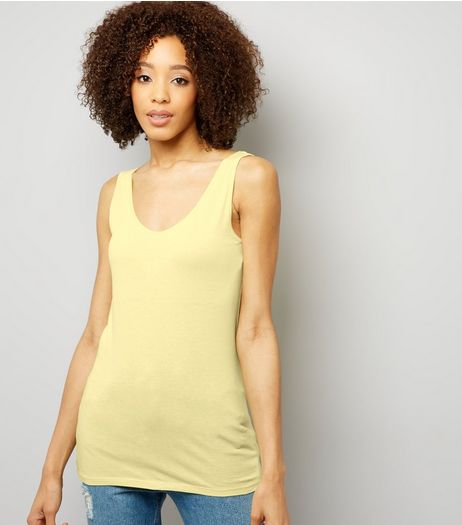 Tall Yellow Scoop Neck Longline Vest | New Look