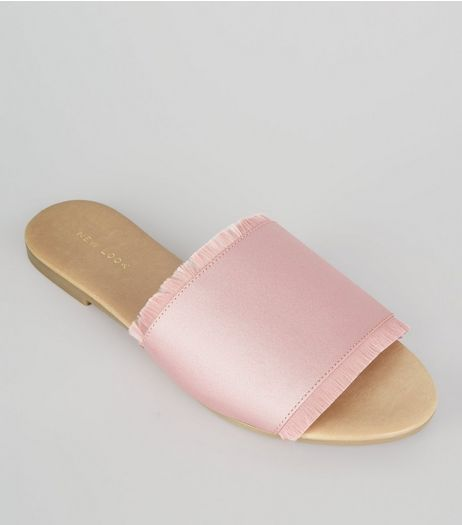 Pink Fringed Satin Mules | New Look