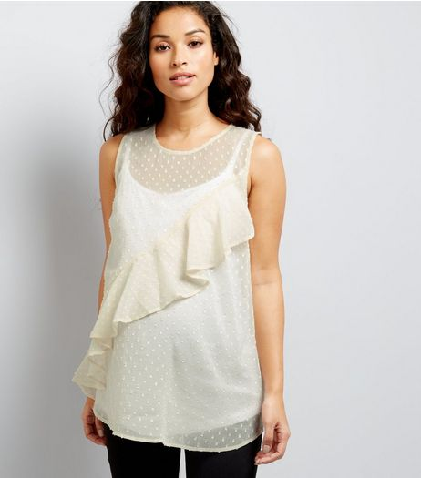 Maternity White Spot Chiffon Frill Front Top | New Look