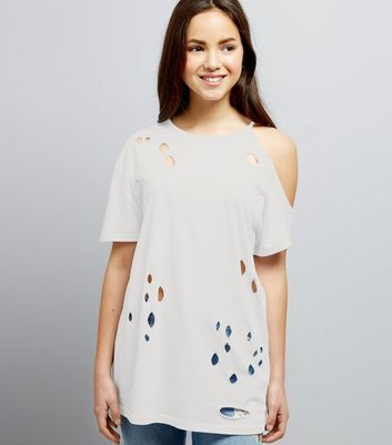 Teens White Ripped Single Cold Shoulder Oversized T-Shirt
