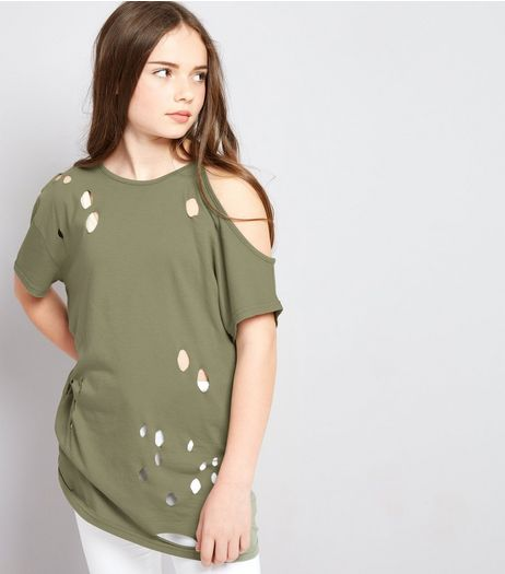 Teens Khaki Ripped Single Cold Shoulder Oversized T-Shirt | New Look