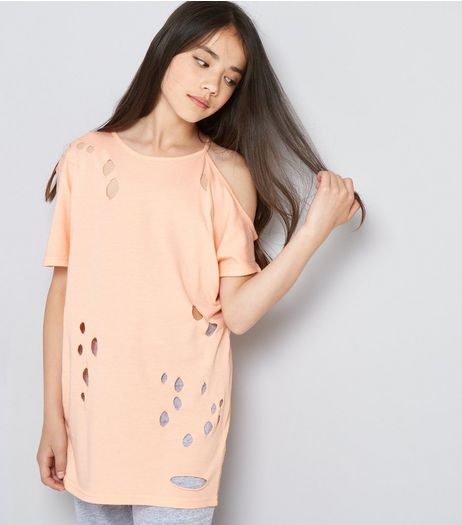 Teens Orange Ripped Single Cold Shoulder Oversized T-Shirt | New Look