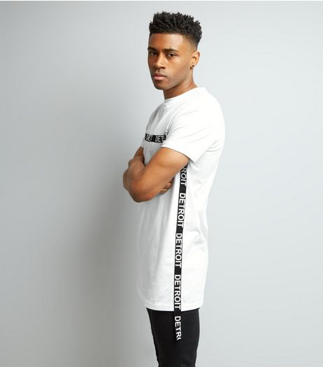 White Detroit Tape Trim Longline T-Shirt | New Look