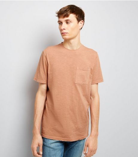 Pink Distresed Pocket Front T-Shirt | New Look