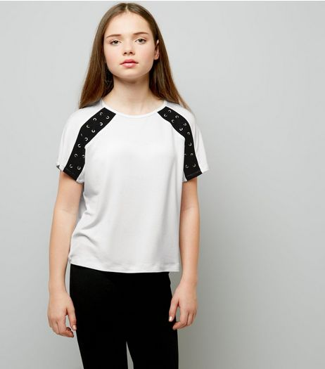 Teens White Eyelet Lattice Raglan Sleeve T-Shirt | New Look