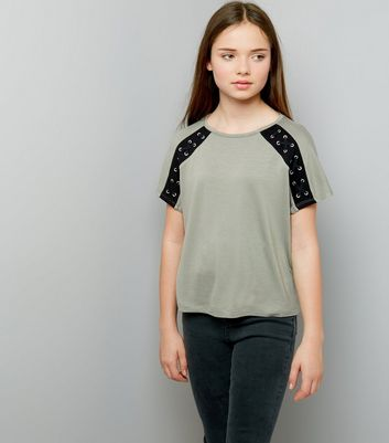 Teens Khaki Eyelet Lattice Raglan Sleeve T-Shirt