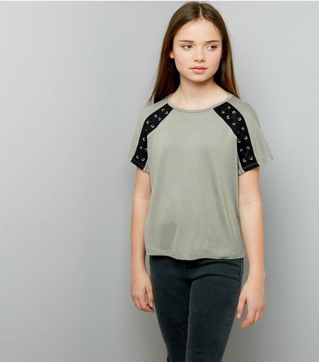 Teens Khaki Eyelet Lattice Raglan Sleeve T-Shirt | New Look