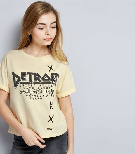 Teens Yellow Detroit Lattice Side T-Shirt | New Look