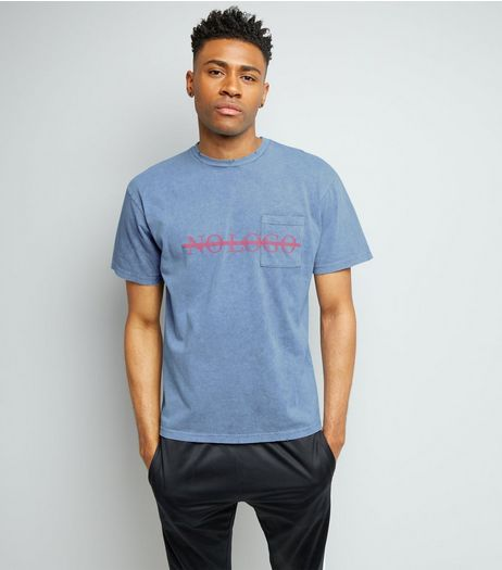 Blue No Logo Print Distressed T-Shirt | New Look
