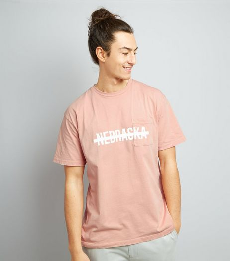 Pink Nebraska Print Distressed T-Shirt | New Look
