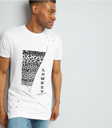 White Ripped Low Key Print T-Shirt | New Look