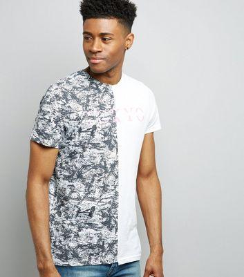 White Spliced Textured Tokyo Print T-Shirt