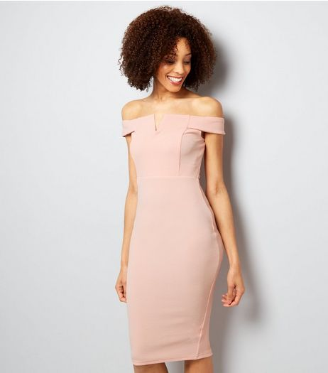 AX Paris Pink Bardot Neck Midi Dress  | New Look