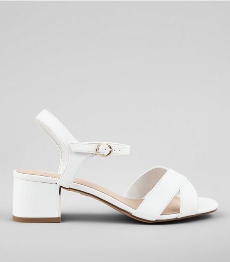 Wide Fit White Comfort Cross Strap Block Heel Sandals | New Look