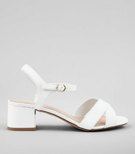 Wide Fit White Comfort Cross Strap Block Heeled Sandals | New Look