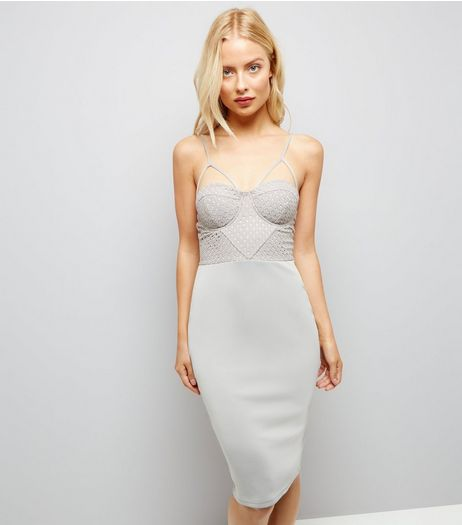 AX Paris Pale Grey Cross Strap Midi Dress | New Look