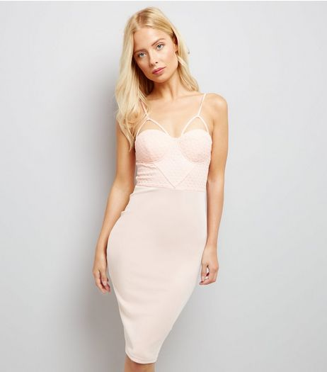 AX Paris Pink Cross Strap Midi Dress | New Look