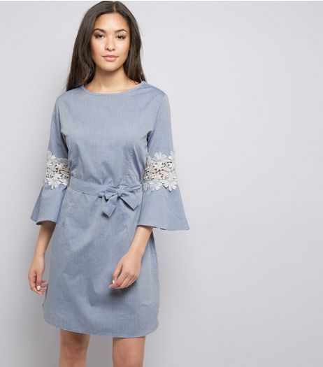 Blue Vanilla Blue Floral Lace Tie Waist Dress  | New Look