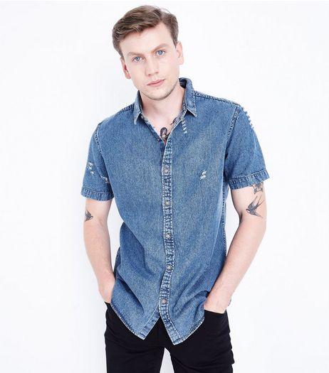 Blue Ripped Short Sleeve Denim Shirt  | New Look