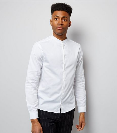 White Long Sleeve Grandad Collar Shirt | New Look