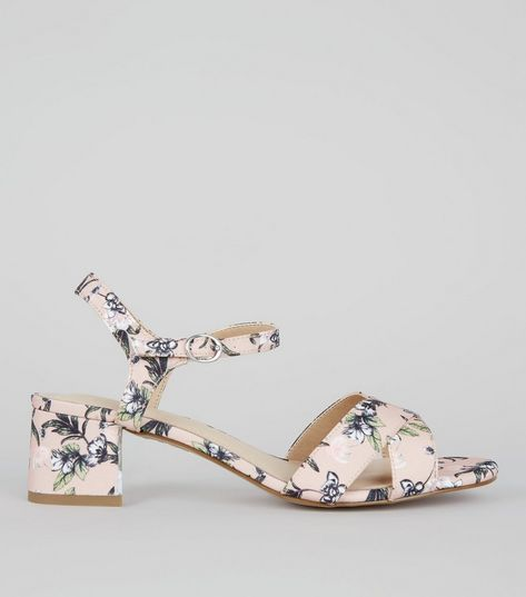 Wide Fit Cream Comfort Floral Print Block Heeled Sandals | New Look