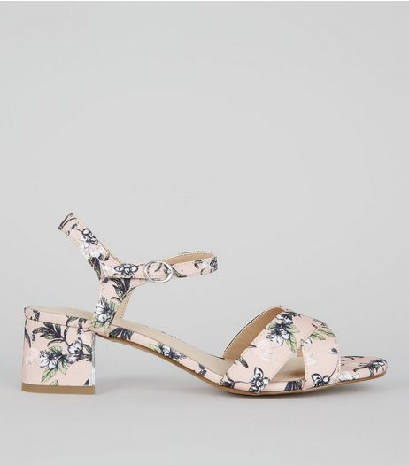 Wide Fit Pink Comfort Floral Print Block Heeled Sandals | New Look