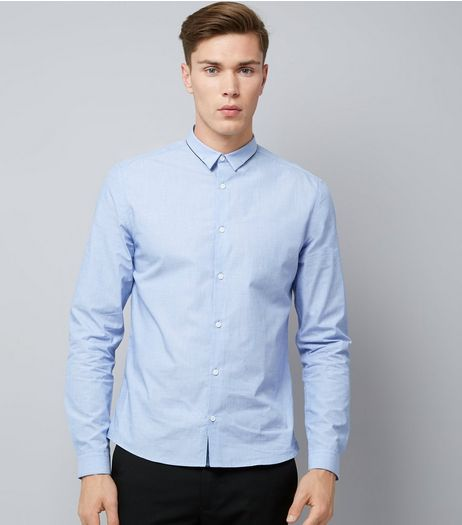 Blue Cross Hatch Long Sleeve Shirt | New Look