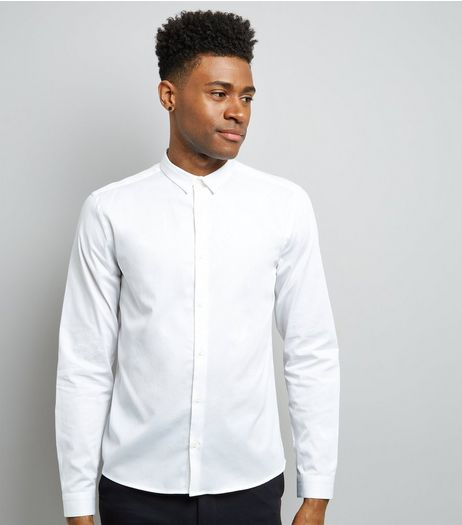 White Split Collar Long Sleeve Shirt | New Look