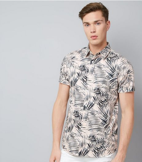 Pink Palm Print Short Sleeve Shirt | New Look