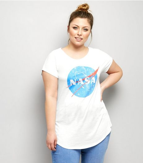 Curves White Nasa Print Short Sleeve T-Shirt  | New Look