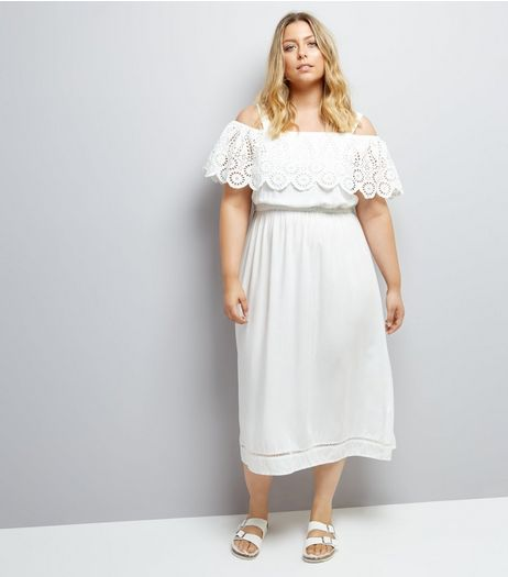 Curves White Cut Out Cold Shoulder Midi Dress | New Look