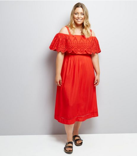 Curves Red Cut Out Cold Shoulder Midi Dress | New Look
