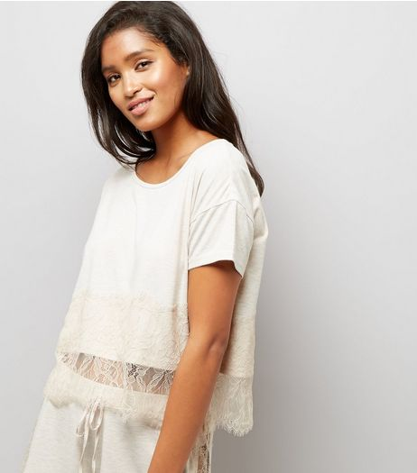 Cream Lace Trim Jersey Pyjama T-Shirt  | New Look