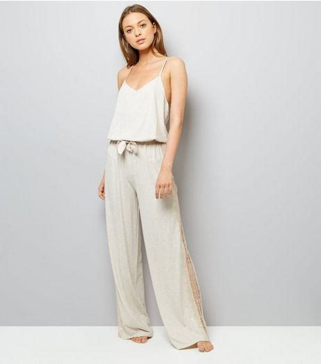 Cream Lace Trim Jersey Pyjama Jumpsuit  | New Look