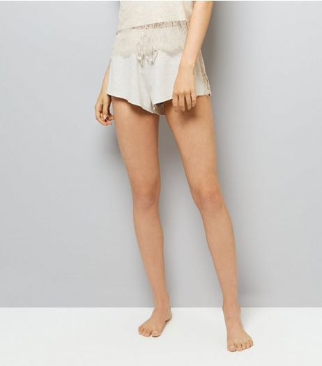 Cream Lace Trim Jersey Pyjama Shorts  | New Look