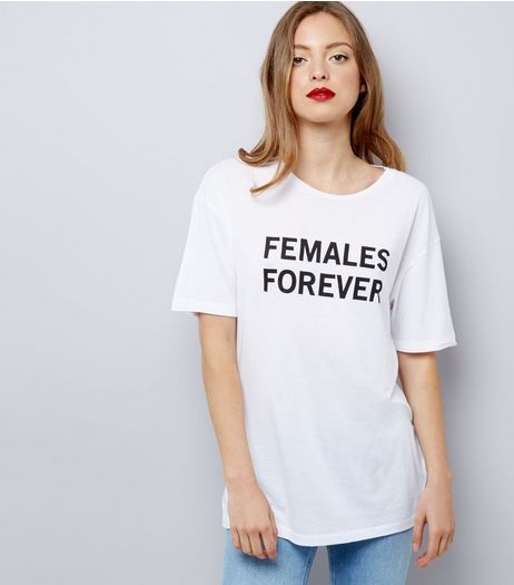 White Slogan Print Oversized T-Shirt | New Look