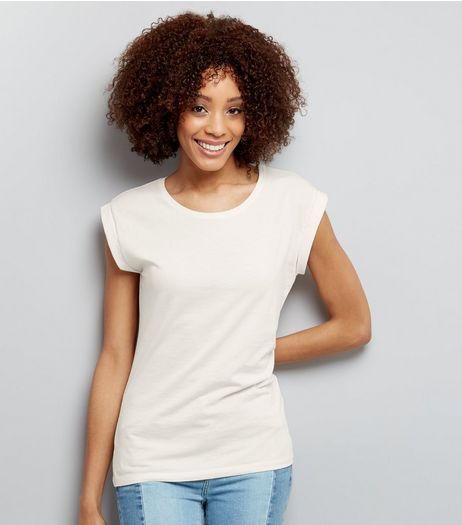 White Rolled Sleeve T-Shirt  | New Look